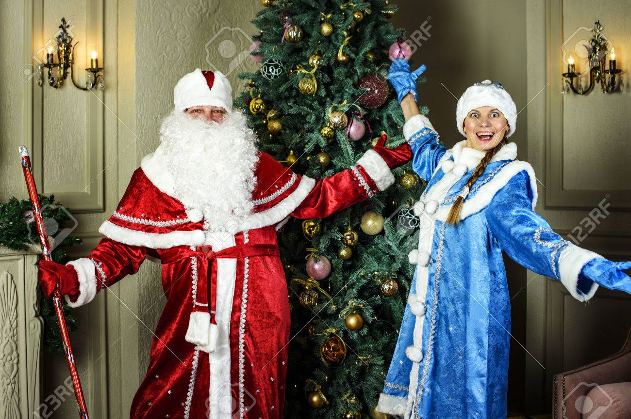 Russian Christmas.Russian Christmas Characters Ded Moroz Santa And Snegurochka