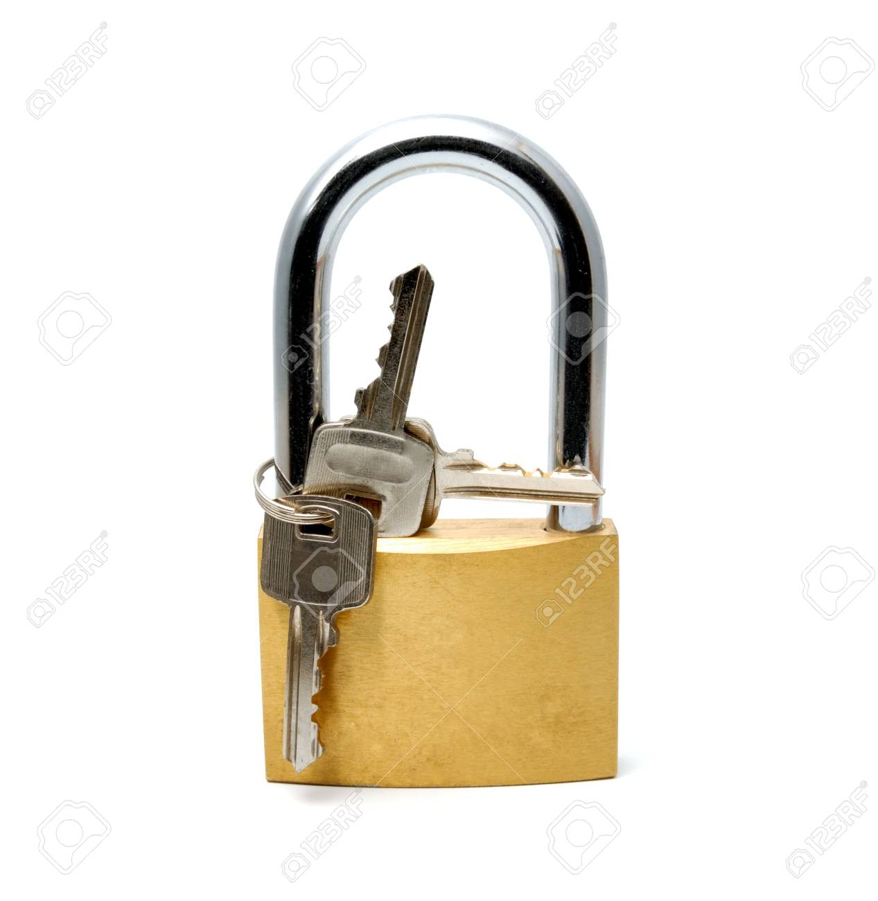 Padlock with the long handle on a white background Stock Photo - 3226993