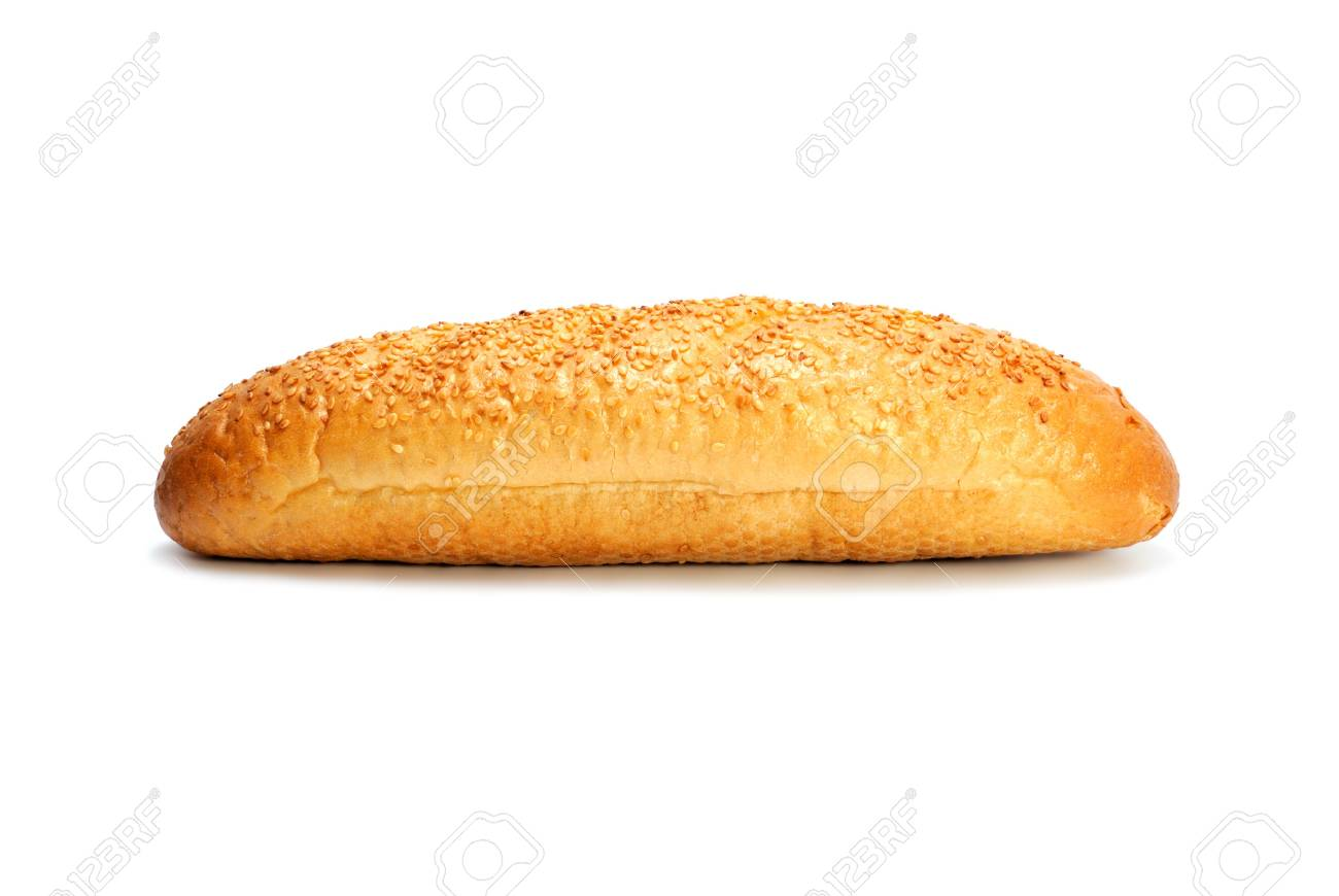 Mini French bread baguette with sesame seeds isolated on white Stock Photo - 7918588