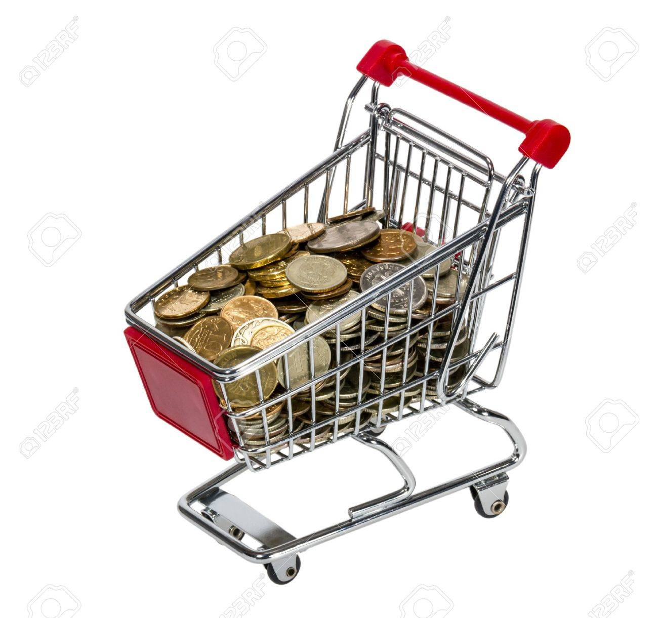 Shopping Cart with money isolated on white background Stock Photo - 12767828