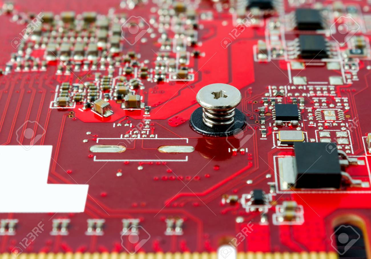 Electronic Components On The Circuit Board Computer Stock Photo With Electronics Royalty Free 38410580