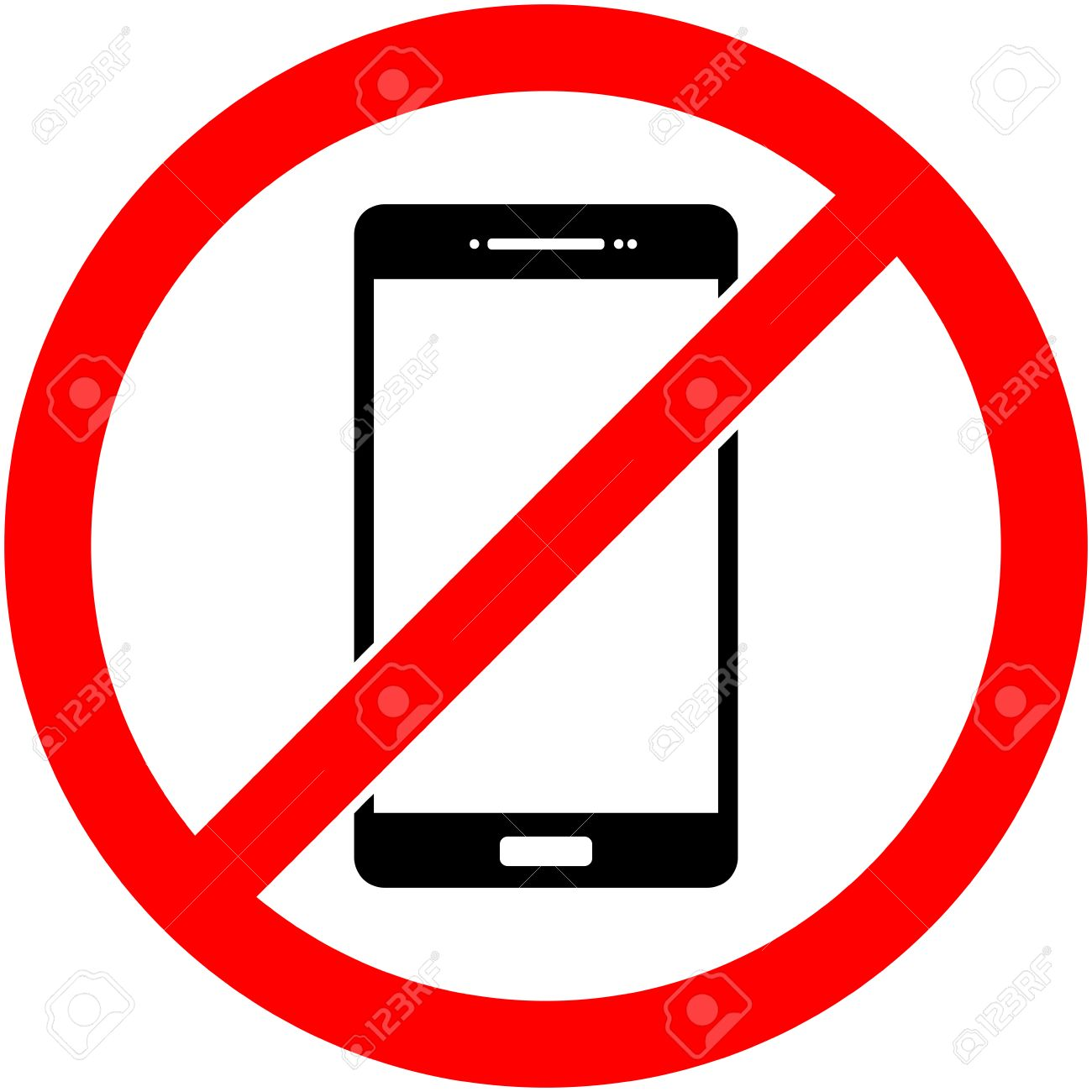 No Phone, Telephone, Cellphone And Smartphone Prohibited Symbol... Royalty  Free Cliparts, Vectors, And Stock Illustration. Image 56633472.