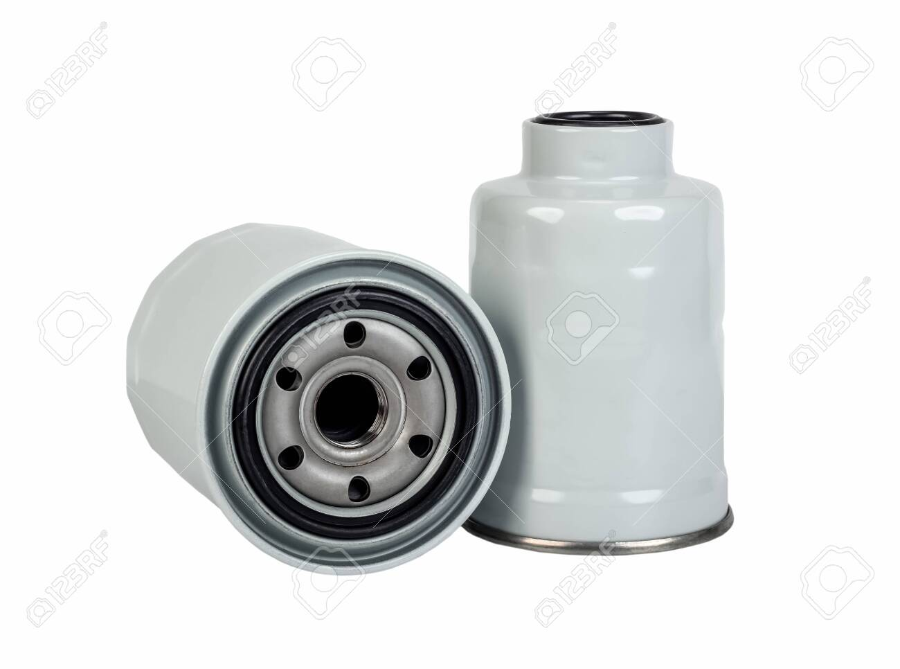 Oil and fuel car filter isolated on white background - 133870170