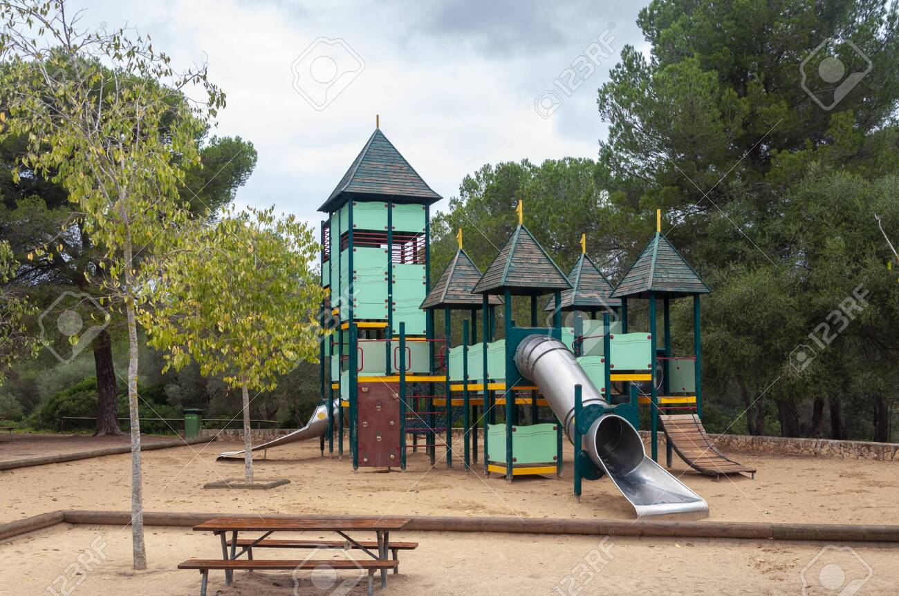 Playground In The Middle Of An Abandoned Forest Spain Stock Photo Picture And Royalty Free Image Image 145816614