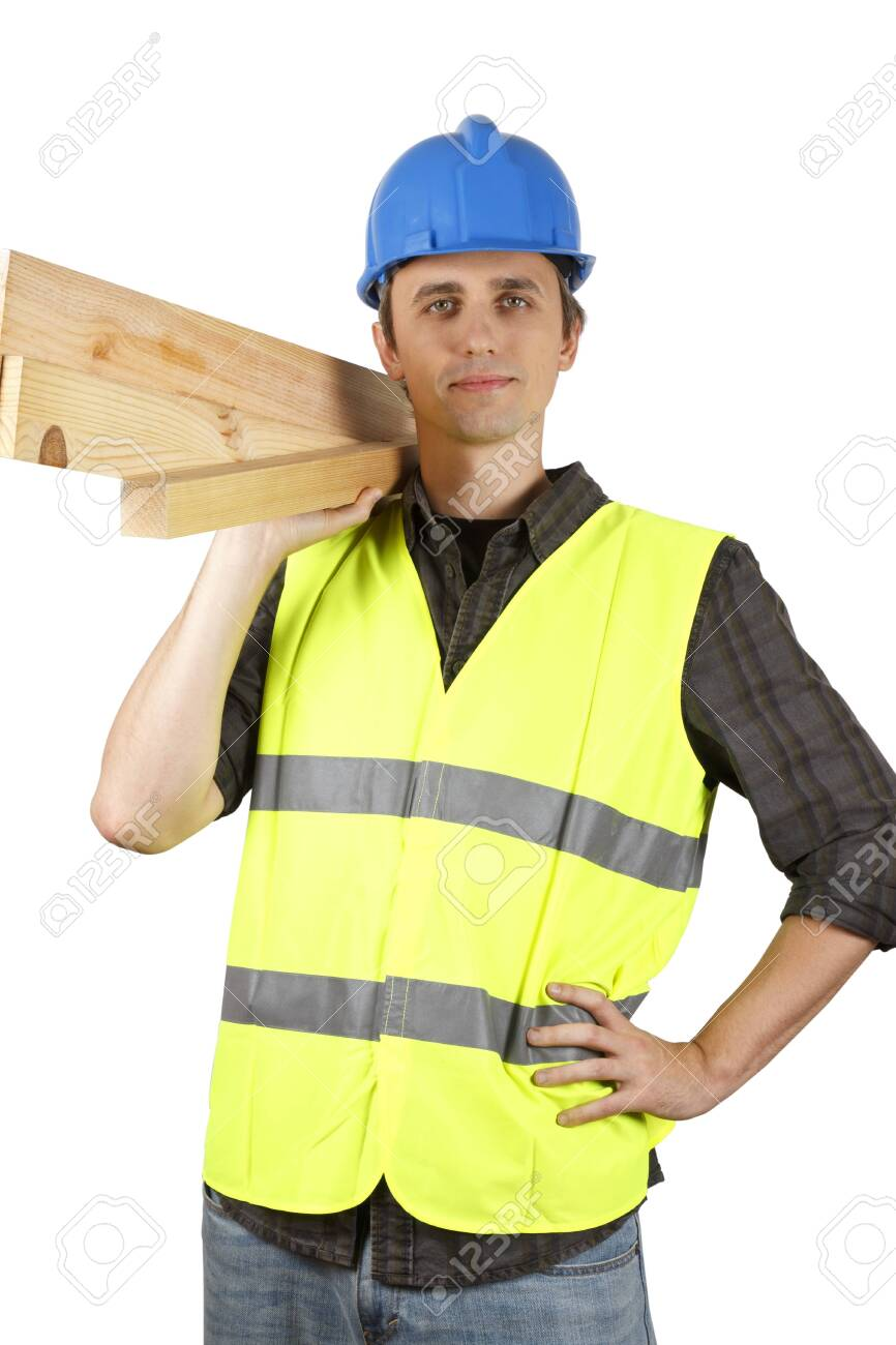 Worker man holding planks. Over white. - 144950760