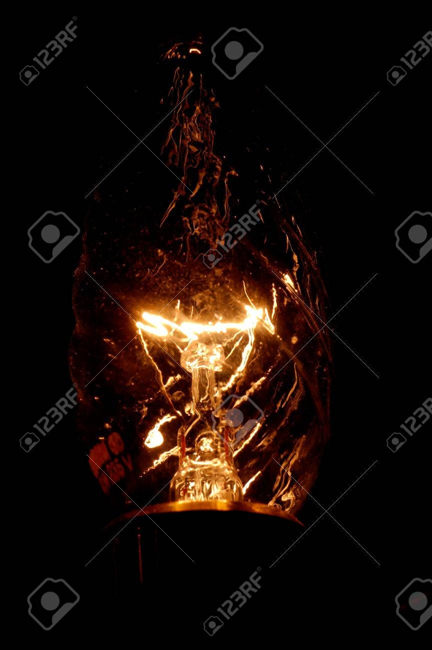 A Glowing Wolfram Thread In A Decorative Bulb Stock Photo Picture