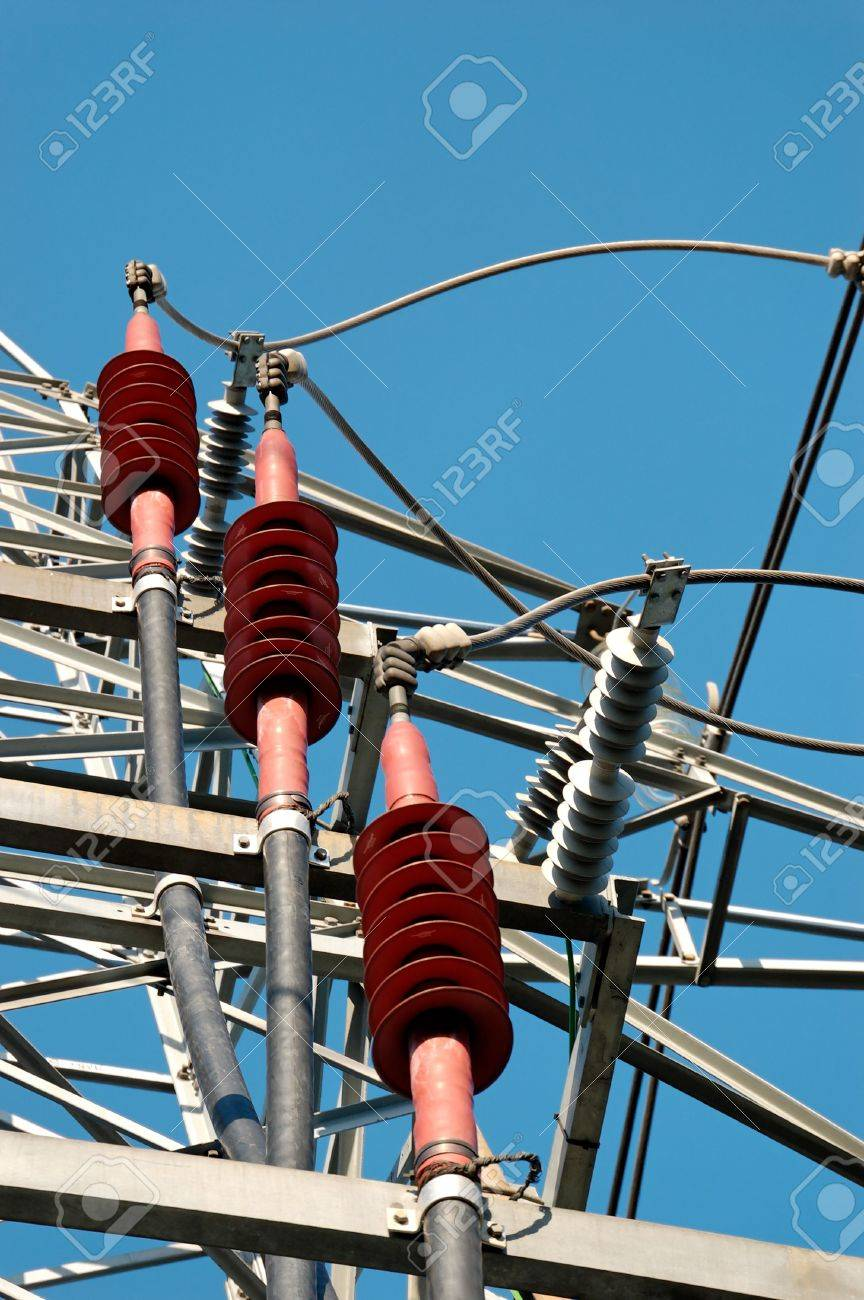 Three Red Ceramic High-voltage Power Line Fixtures For Grounding ...