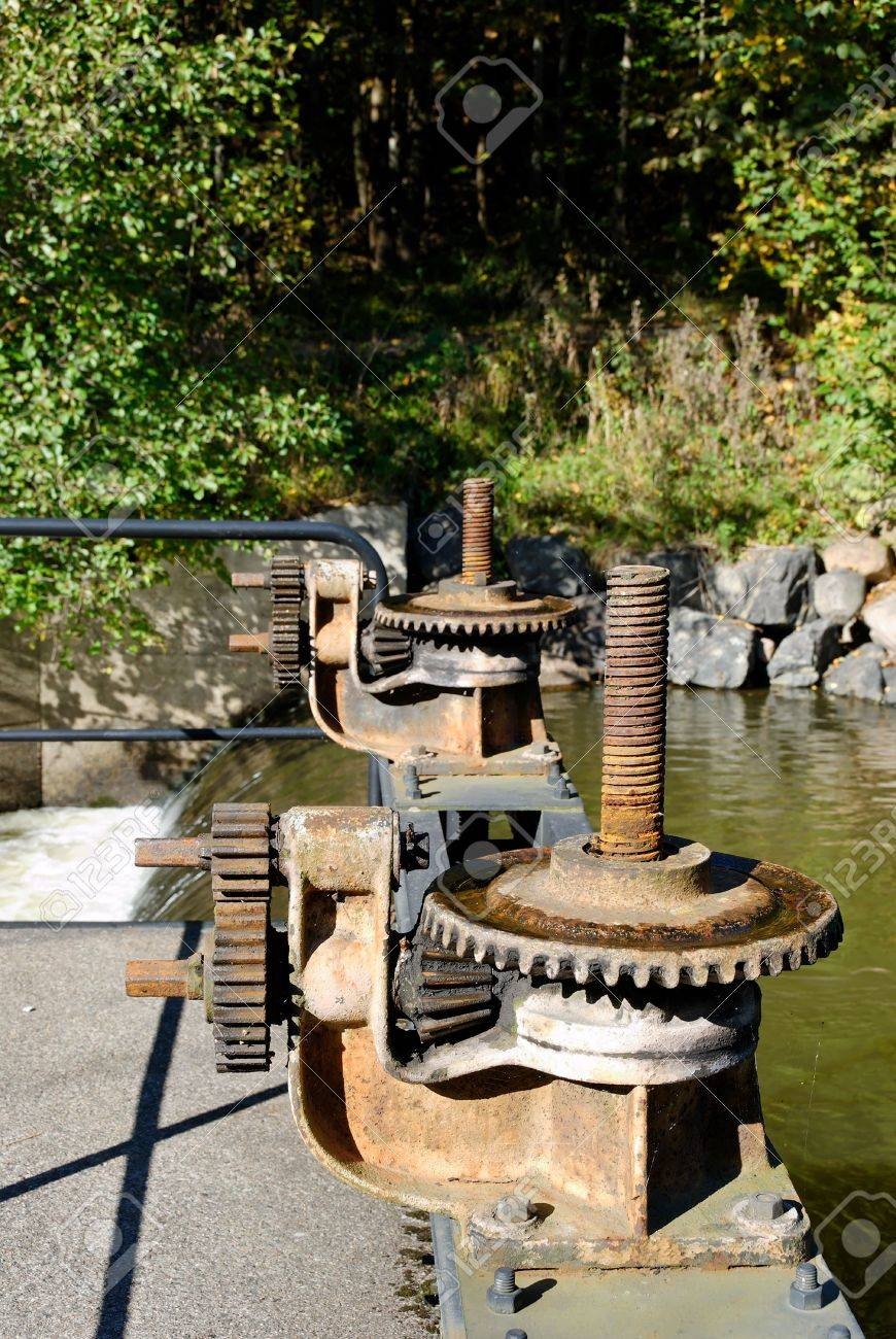 Rusty gearbox on Akerselva river flood-gate Stock Photo - 3736871