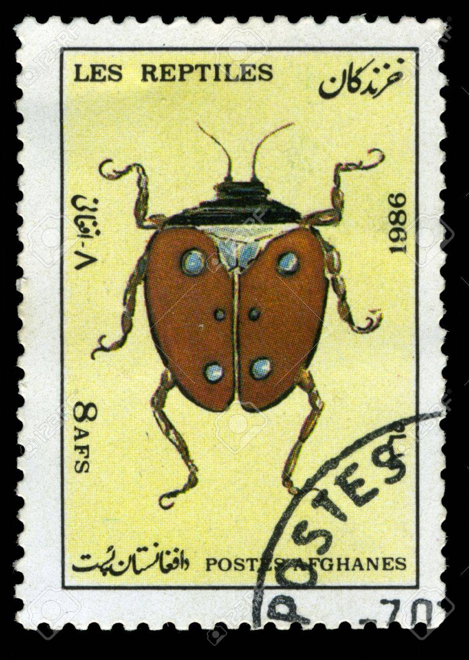 Afghan stamp from 1986 depicting a beetle Stock Photo - 3834640