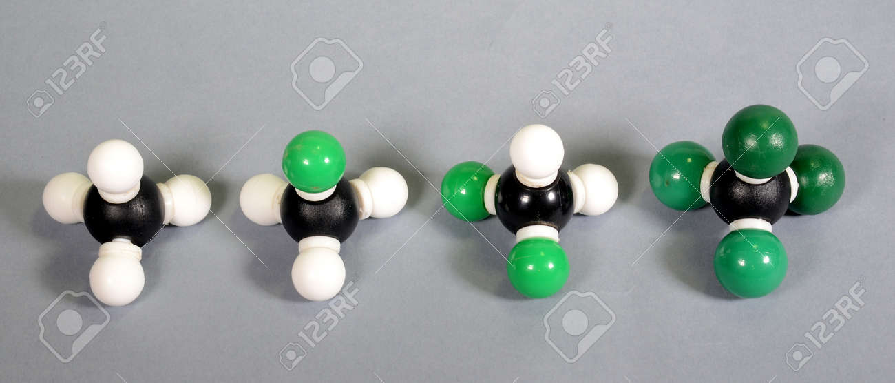 4 molecule models of methane with different grades of substitution. - 157979427