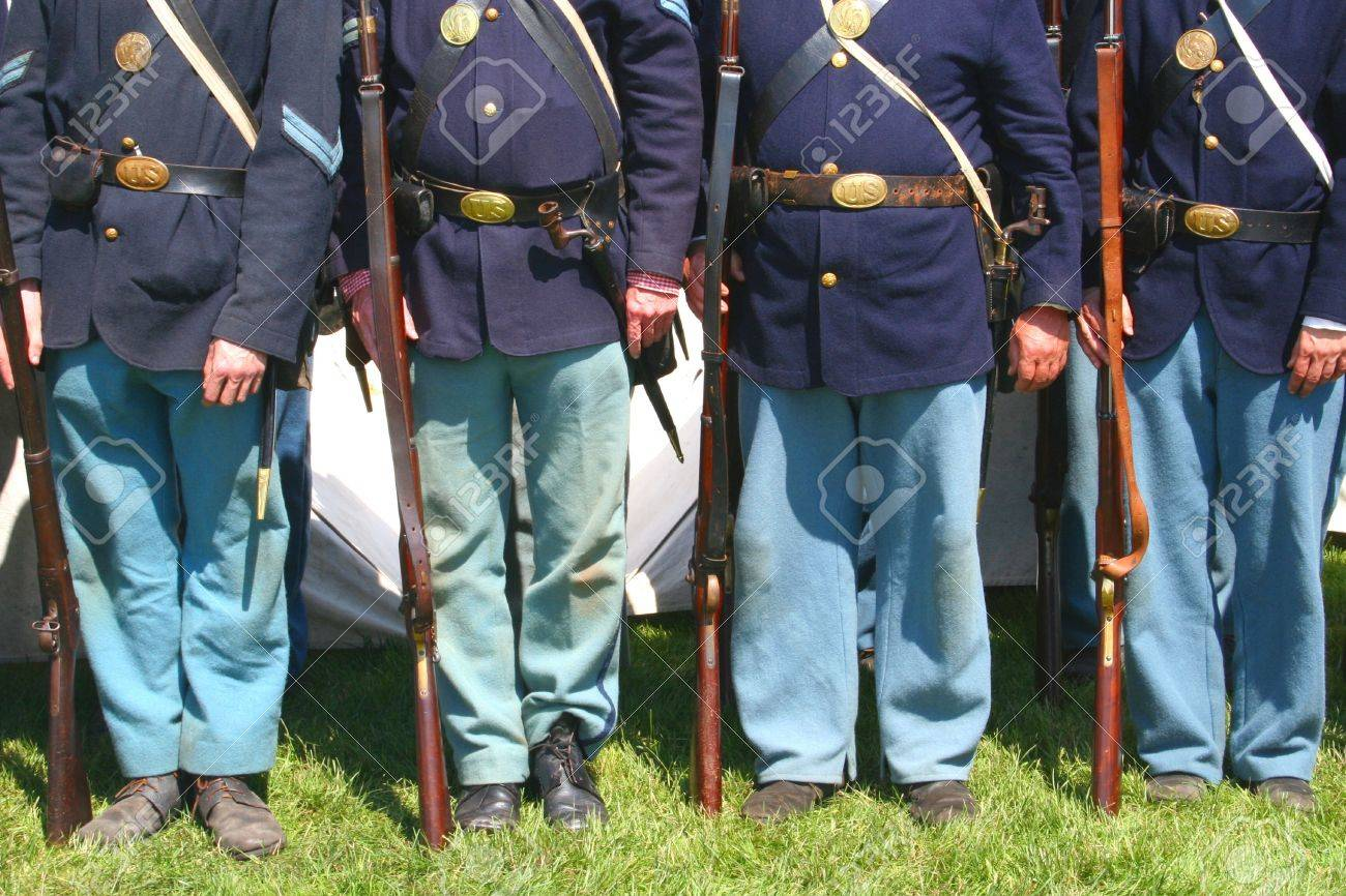 Union Soldiers--Civil War Reenactment Stock Photo - 5236208