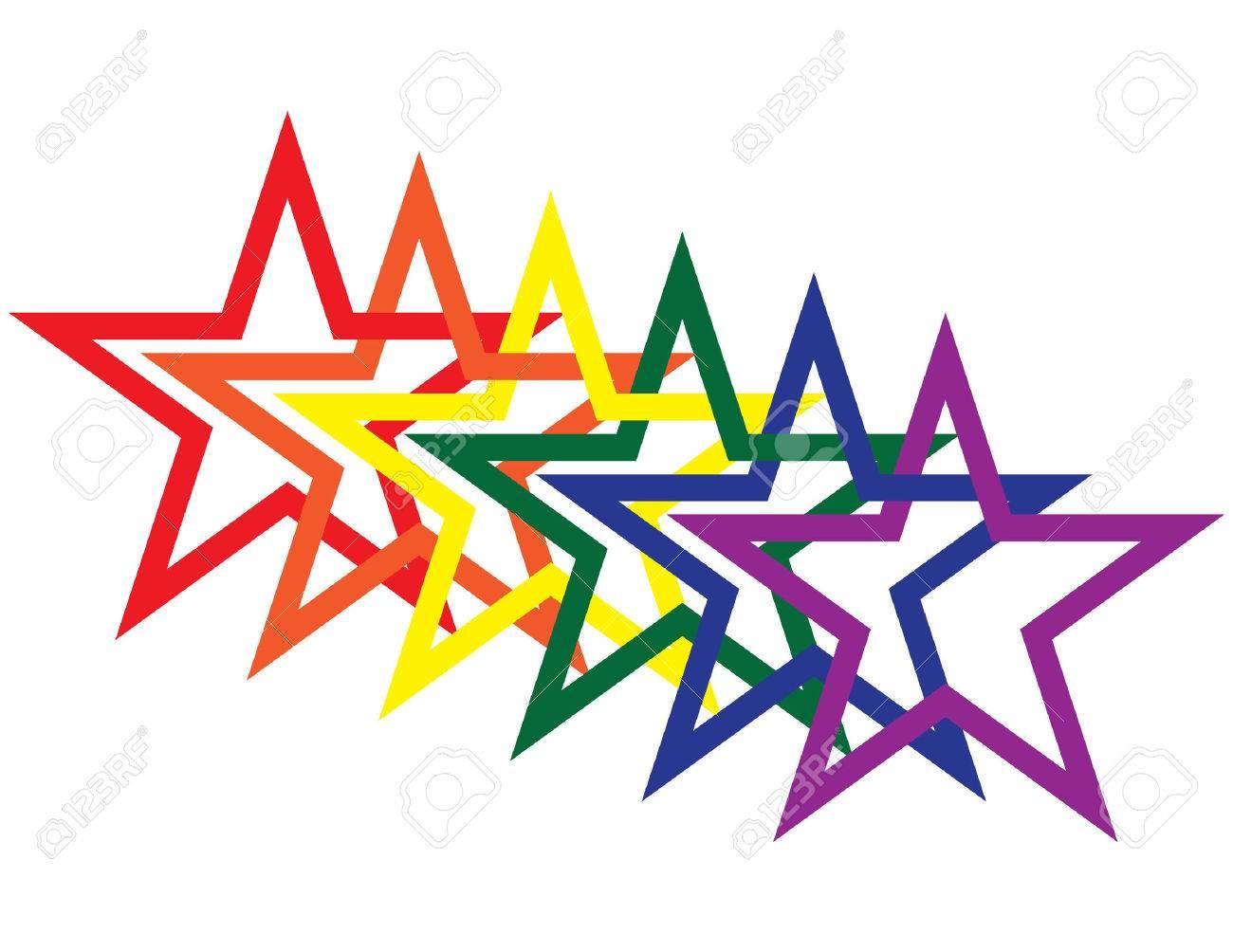 Rainbow Stars Stock Vector - 5597569