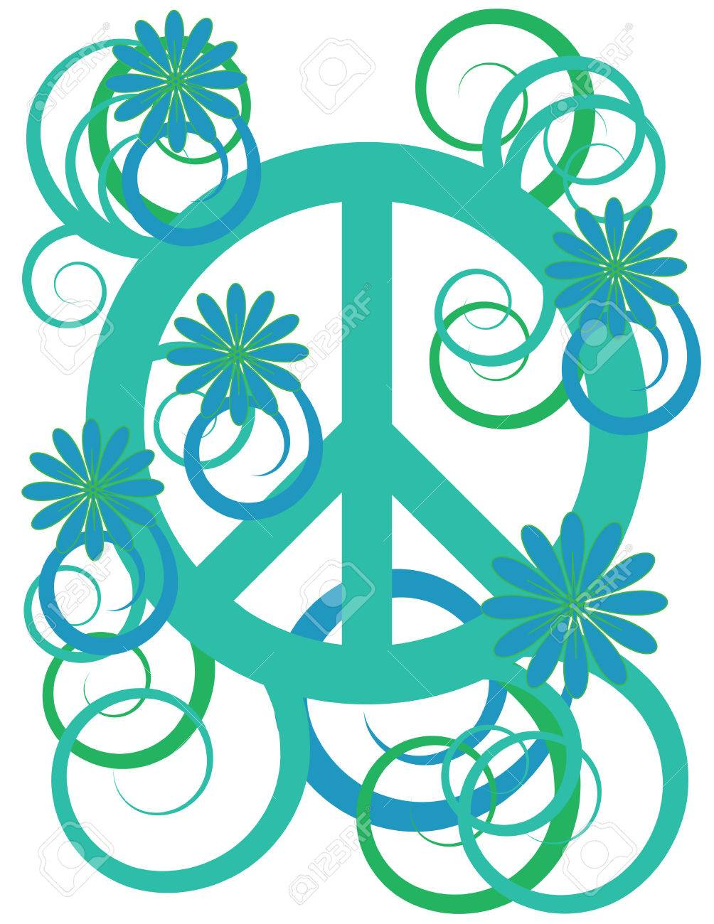 Flower Power Peace Sign Royalty Free Cliparts Vectors And Stock Illustration Image 6078753
