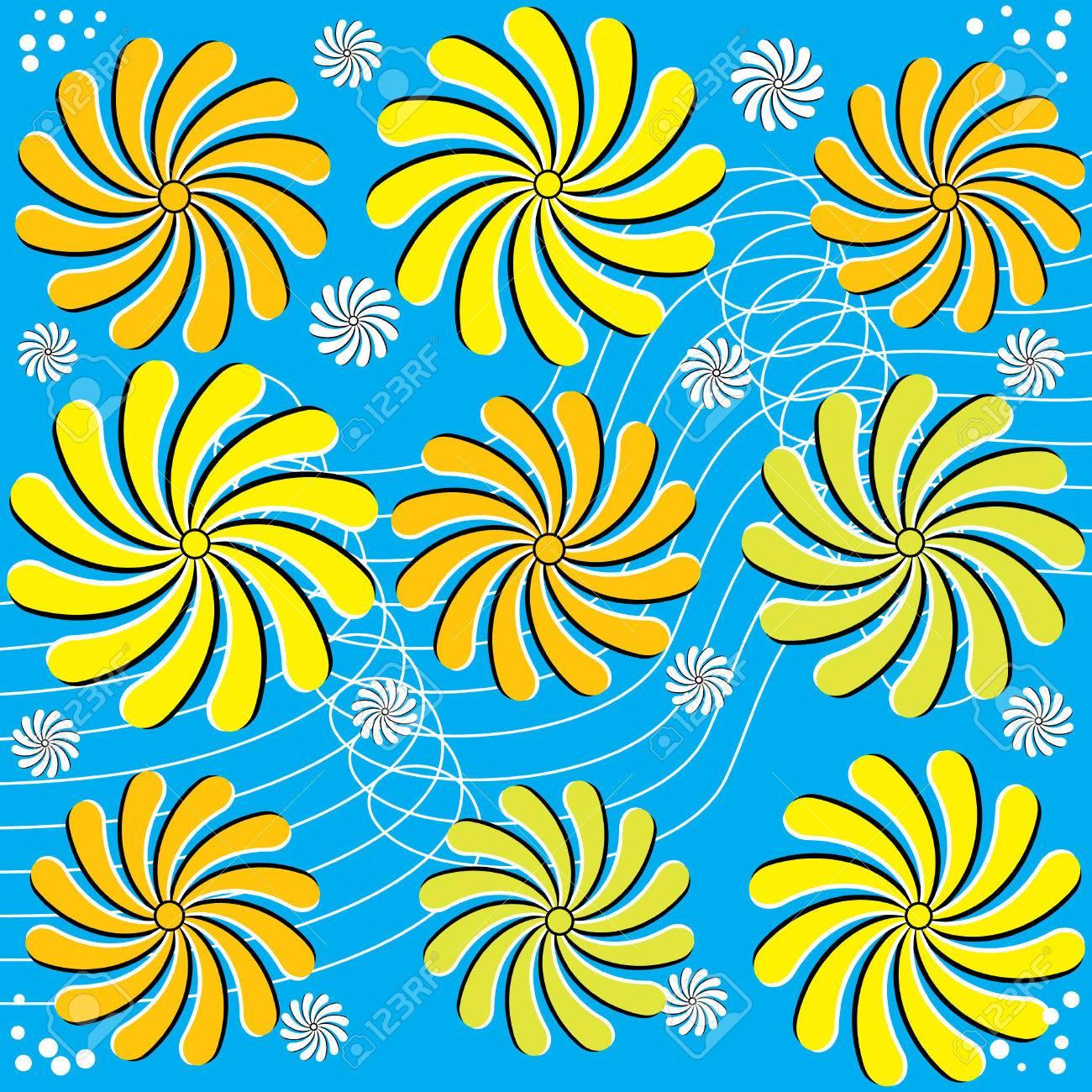 Flores Silvestres Ilusión De Movimiento Ilustraciones Vectoriales