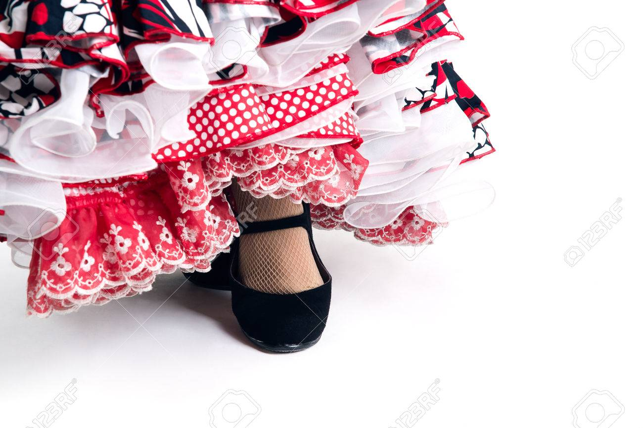Feet detail of Flamenco dancer in beautiful dress on white background - 26398067
