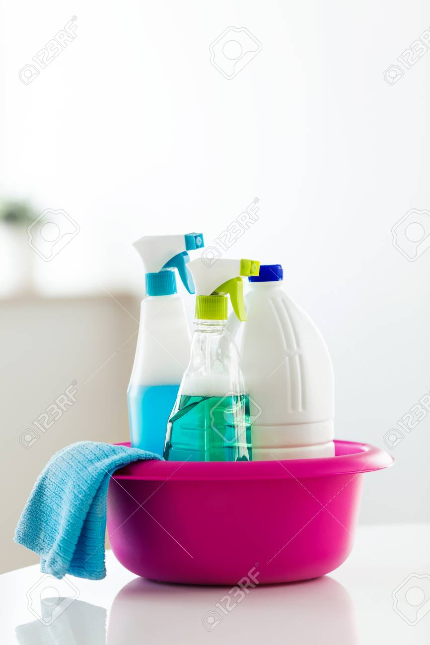 Close-up of cleaning set for different surfaces in kitchen, bathroom and other rooms at home. - 111517305