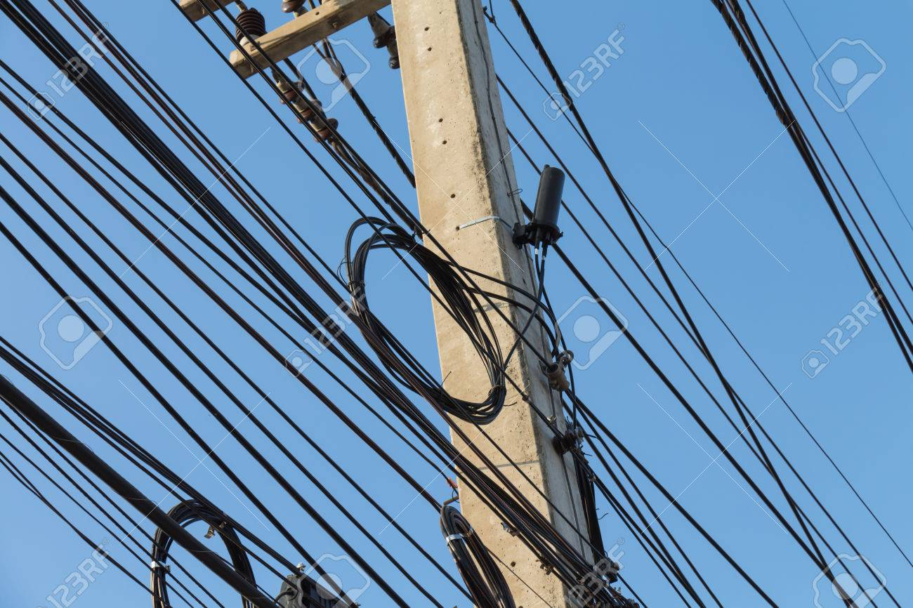 Fiber Optic Communication Systems With The Closure And Loop Stock Electrical Wiring System On Power Poles