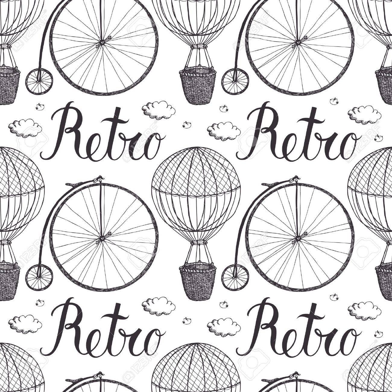 Globo De Aire Caliente Del Vintage Y El Patrón De La Bicicleta ...