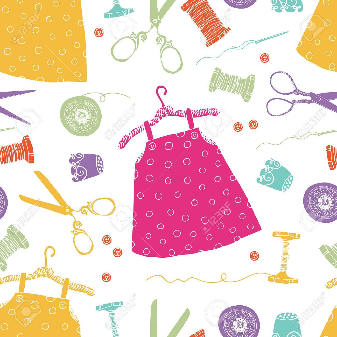 Vestidos De Los Niños De Fondo. Herramientas Para La Costura Y ...