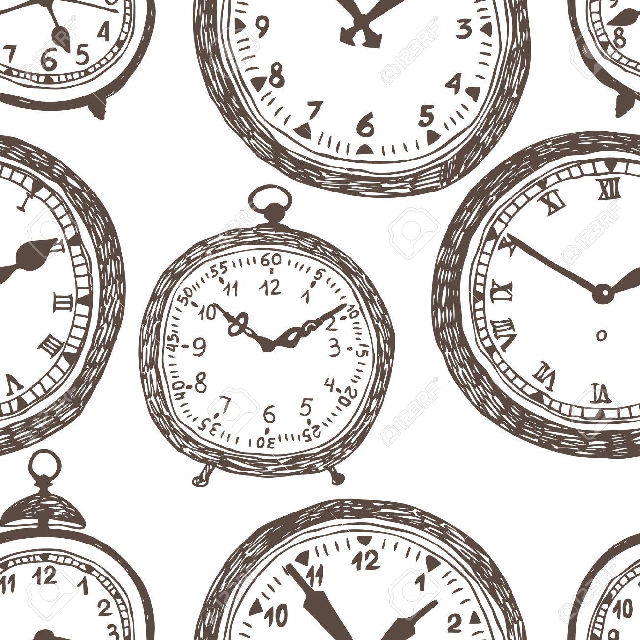old pocket watch Fondo del reloj. Dibujo oscuro sobre un fondo blanco. Vectores