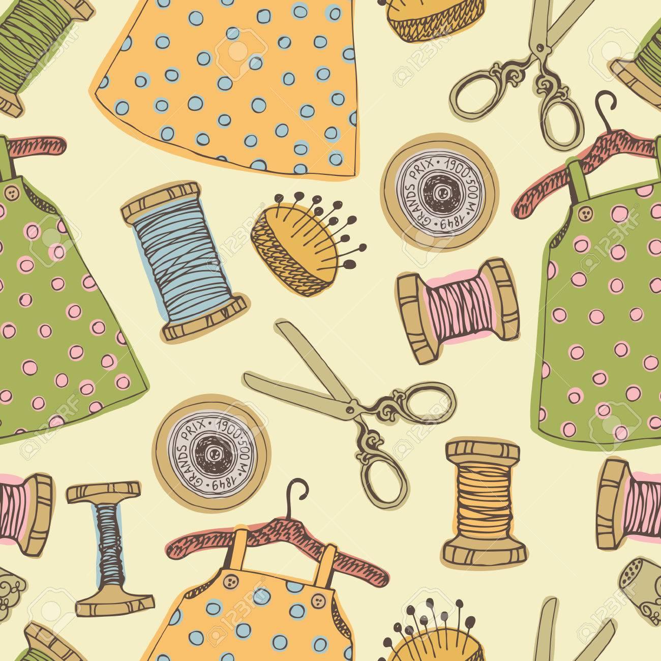 Baby-Kleid Und Nähen Tools Nahtlose Muster Lizenzfrei Nutzbare ...