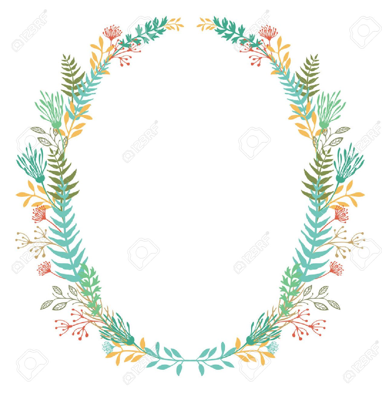 Card With Oval Frame Of Flowers And Ferns Royalty Free Cliparts