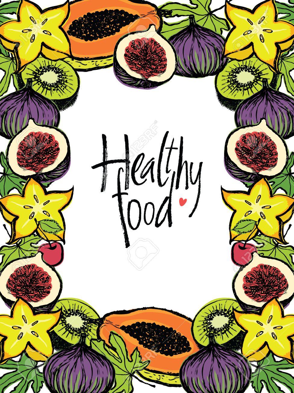 Saludable Marco De Diseño De Alimentos Con Frutas Frescas Y Hojas ...