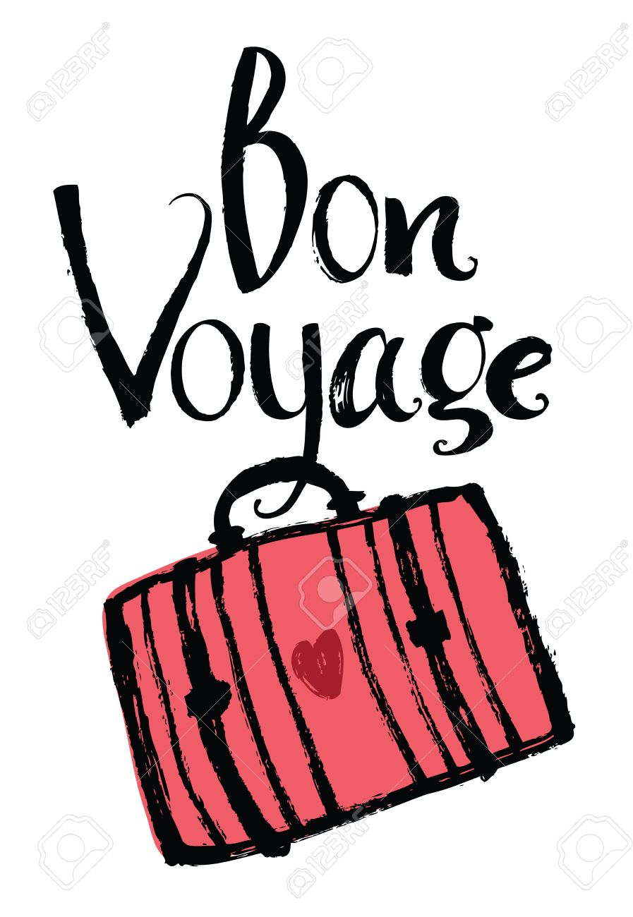 bon voyage design card with suitcase royalty free cliparts vectors rh 123rf com bon voyage clipart animated