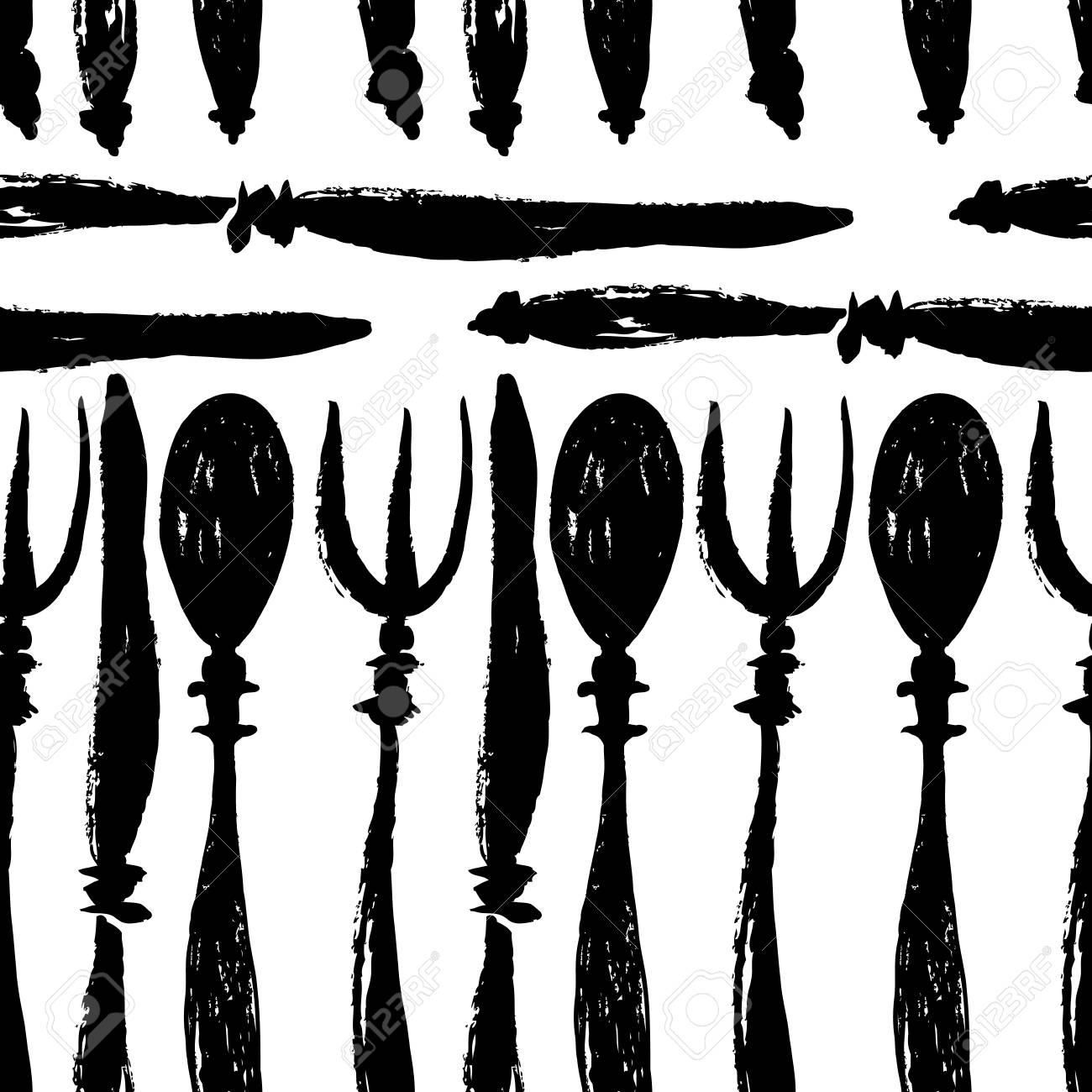 Gabeln, Messer Und Löffel Nahtlose Muster Schwarz-Weiß-Farben ...