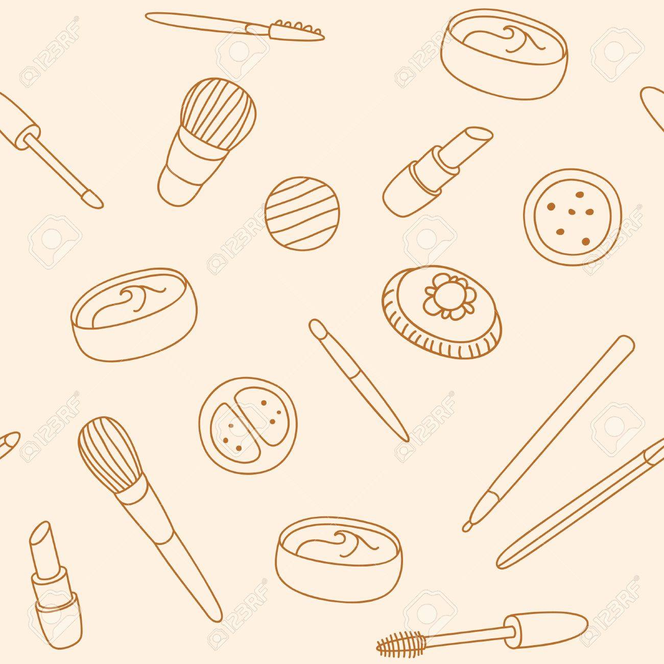 Hand drawn pattern with cosmetics Stock Vector - 14221404