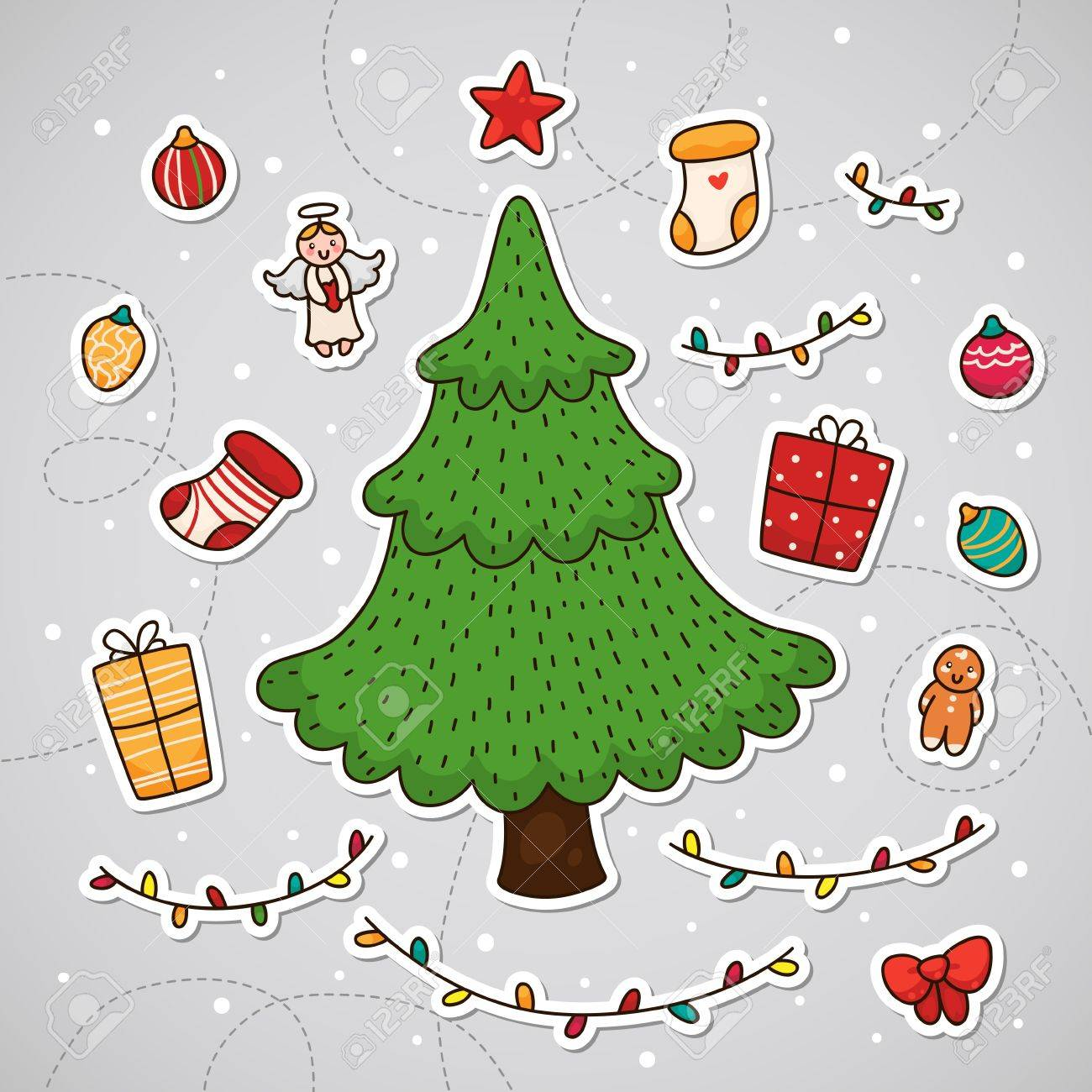 Christmas tree and other Christmas decorations Stock Vector - 18545913