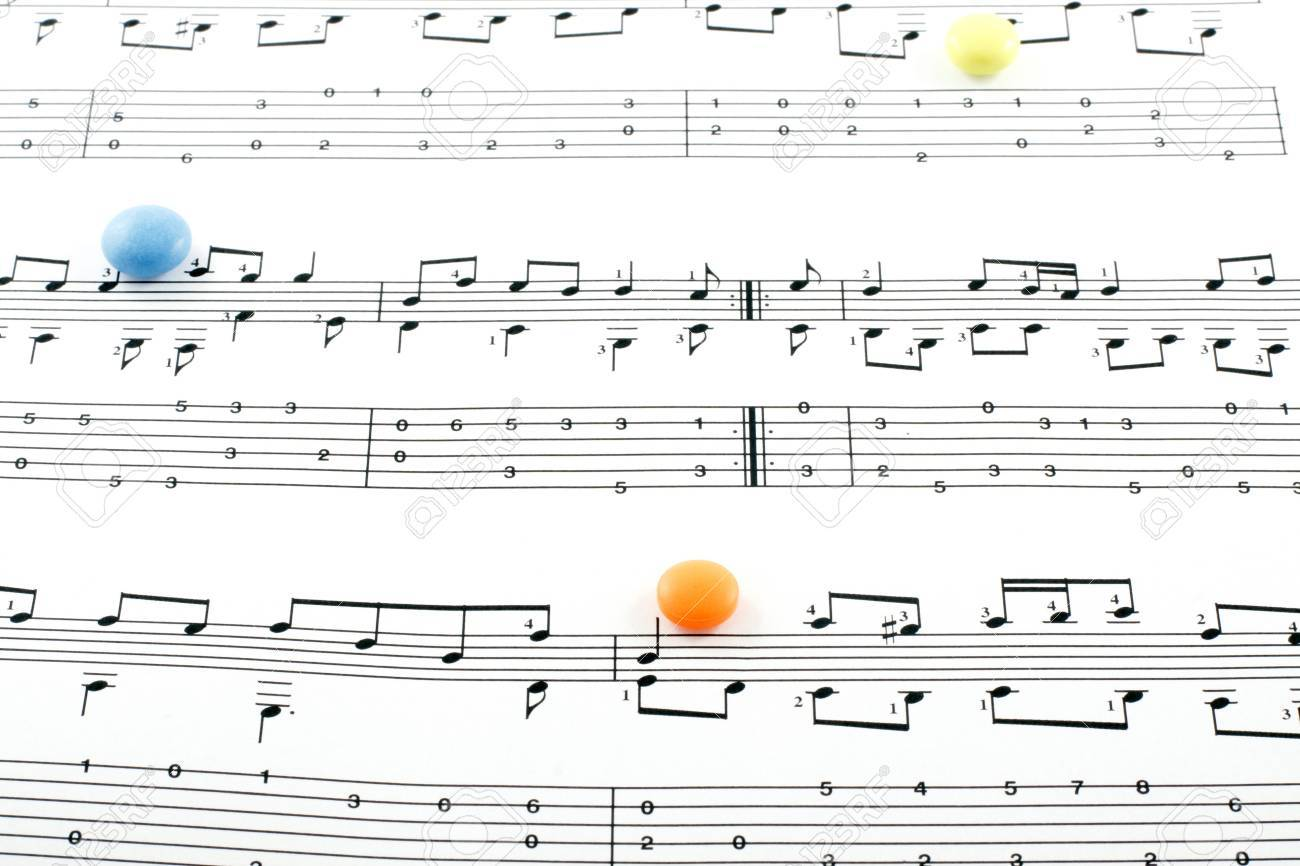 Music notation elements and pills on white background Stock Photo - 7844076
