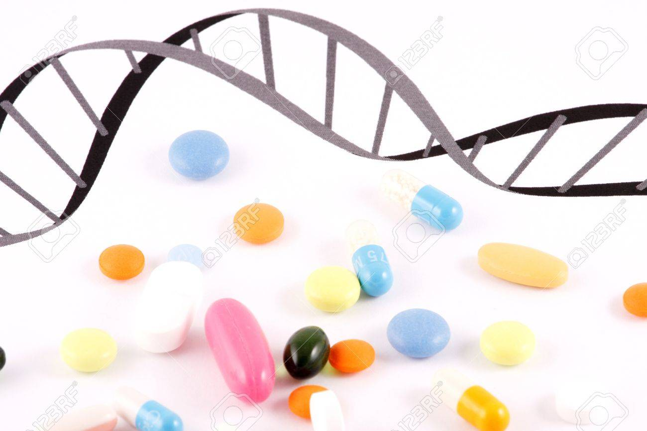 DNA Pills on white background Stock Photo - 7841027
