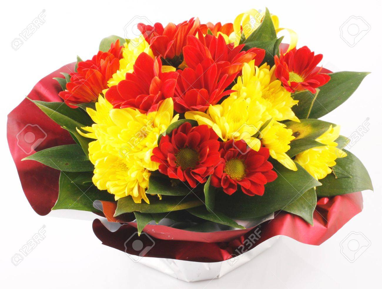 Bouquet yellow and red flowers on a white background stock photo bouquet yellow and red flowers on a white background stock photo 8168367 mightylinksfo