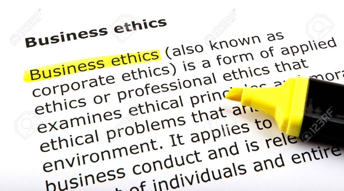 Business ethics - Text highlighted with felt tip pen. Stock Photo - 14375416