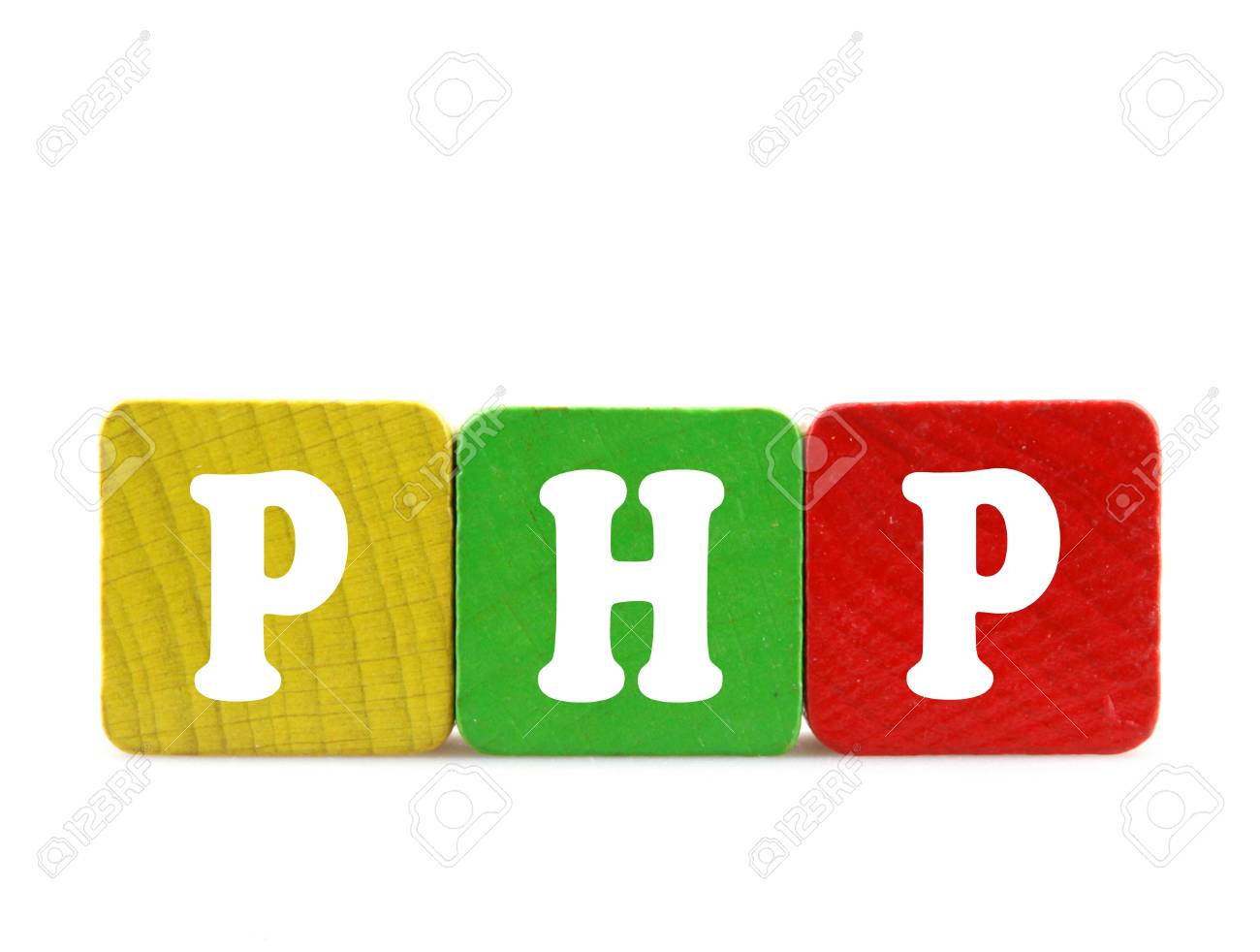 php  - isolated text in wooden building blocks Stock Photo - 18525450