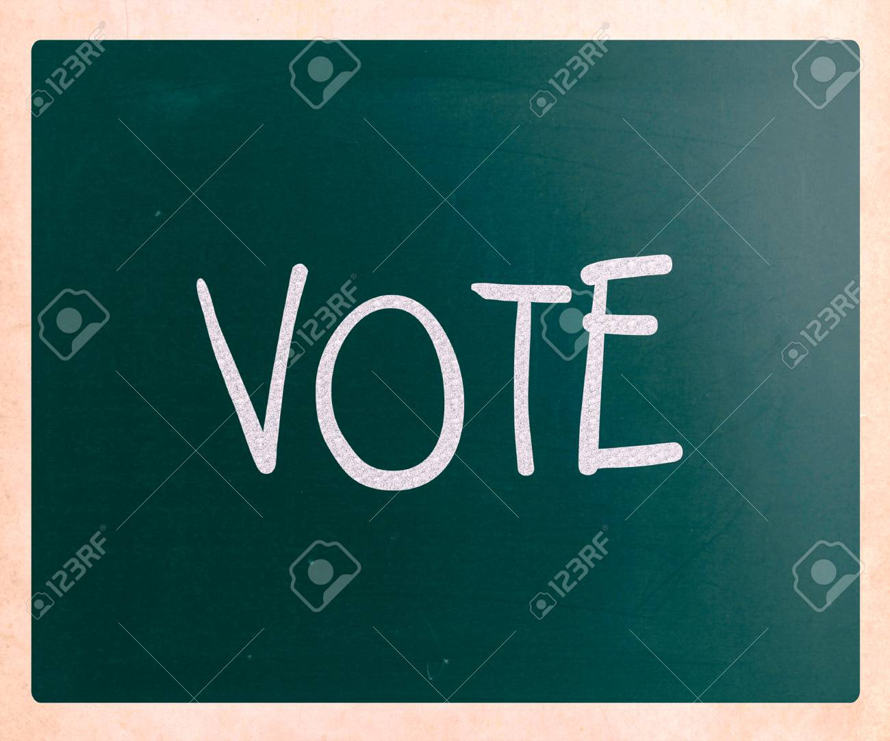 The word 'Vote' handwritten with white chalk on a blackboard Stock Photo - 23422650