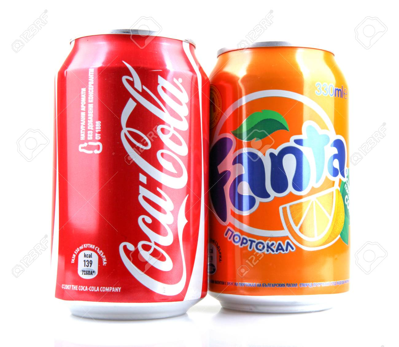 AYTOS, BULGARIA - JANUARY 23, 2014: Global brand of fruit-flavored carbonated soft drinks created by The Coca-Cola Company. - 131958836