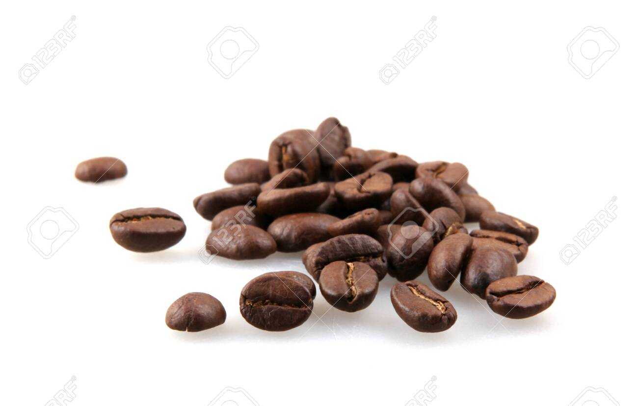Coffee beans isolated on white background. A coffee bean is a seed of the Coffea plant and the source for coffee - 150560292