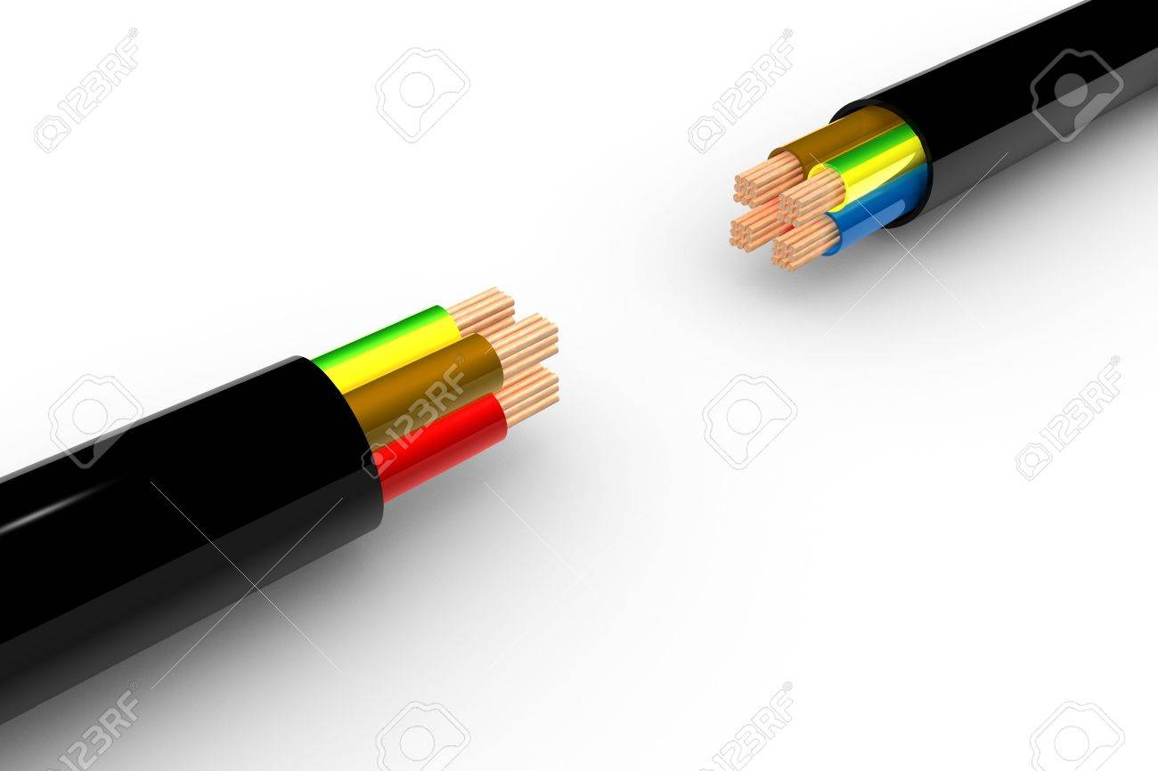 Two Powercable in 3D - white background Stock Photo - 6662834