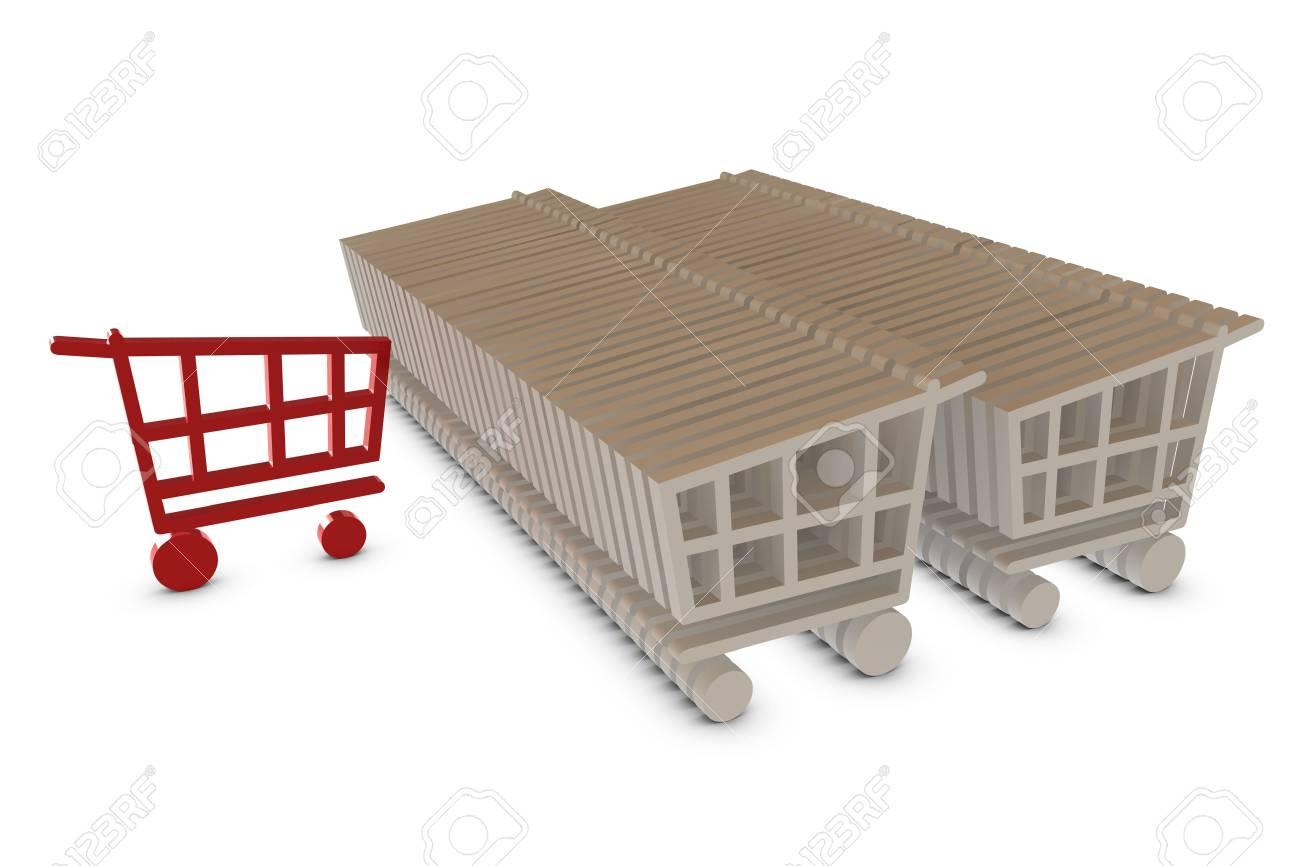 Shopping cart isolated on white Stock Photo - 6662605