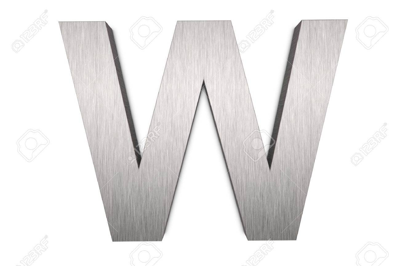 Brushed metal letter W on white background Stock Photo - 8821497