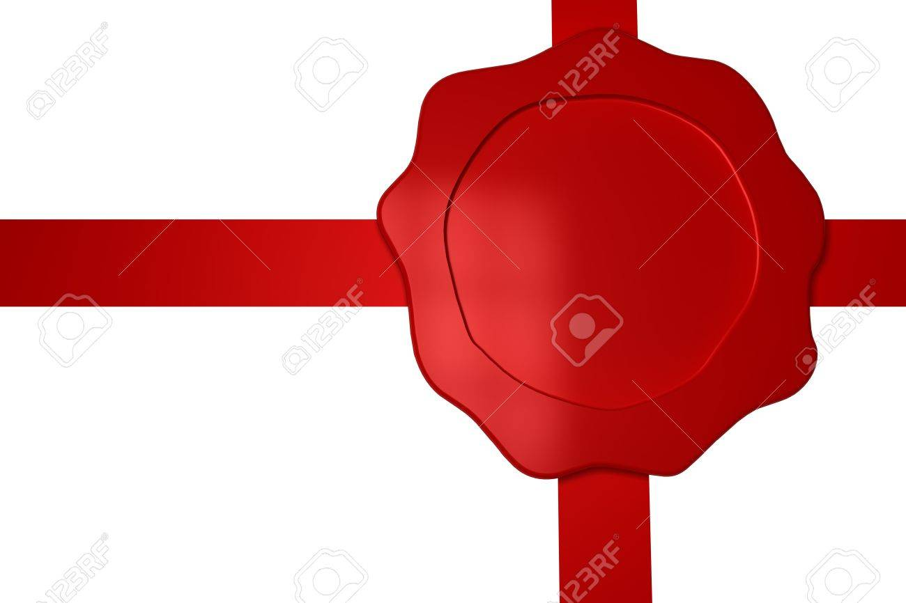 Wax seal with a ribbon on white background Stock Photo - 10136802