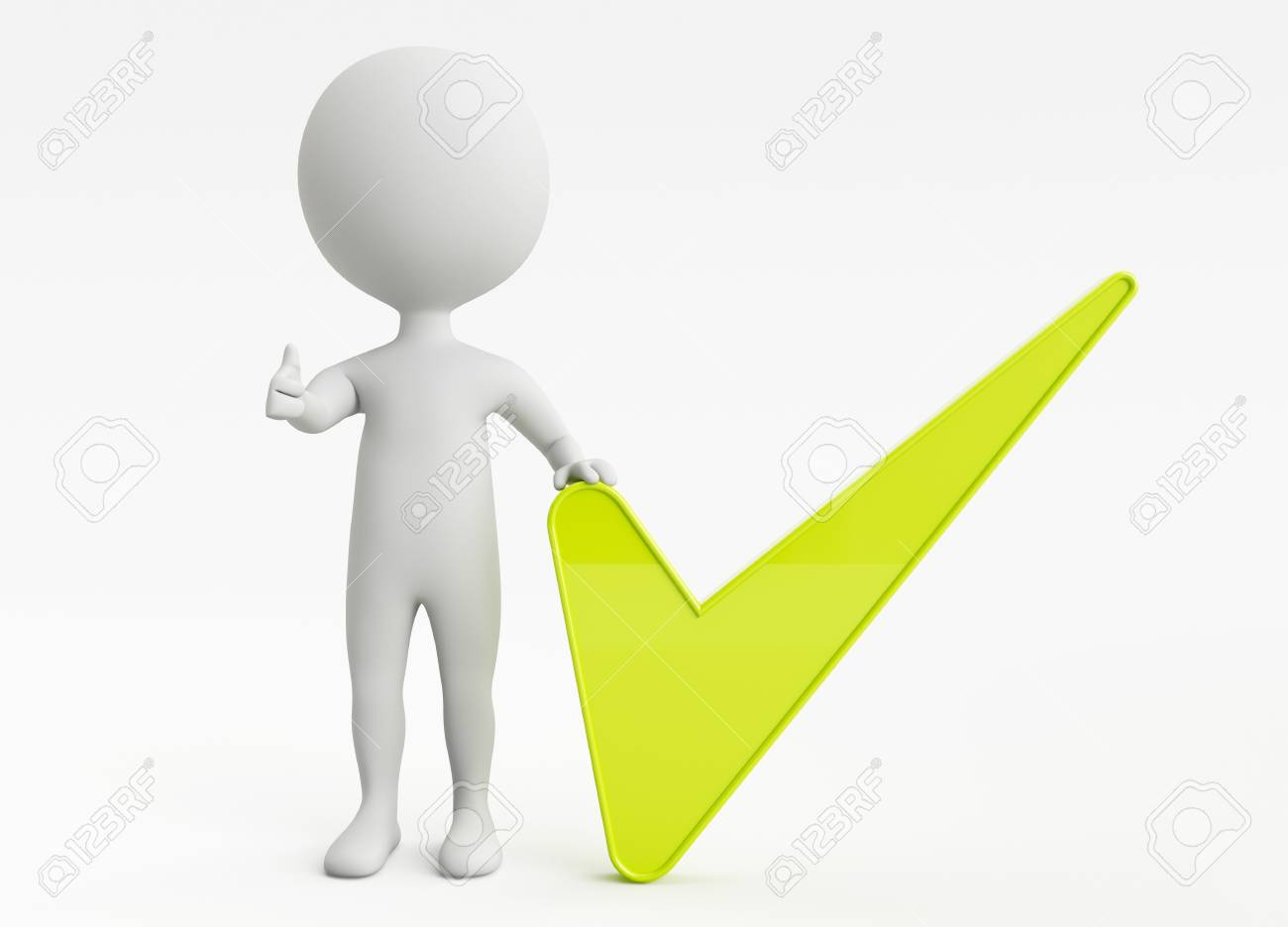 3d humanoid character and a green checkmark Stock Photo - 14920458