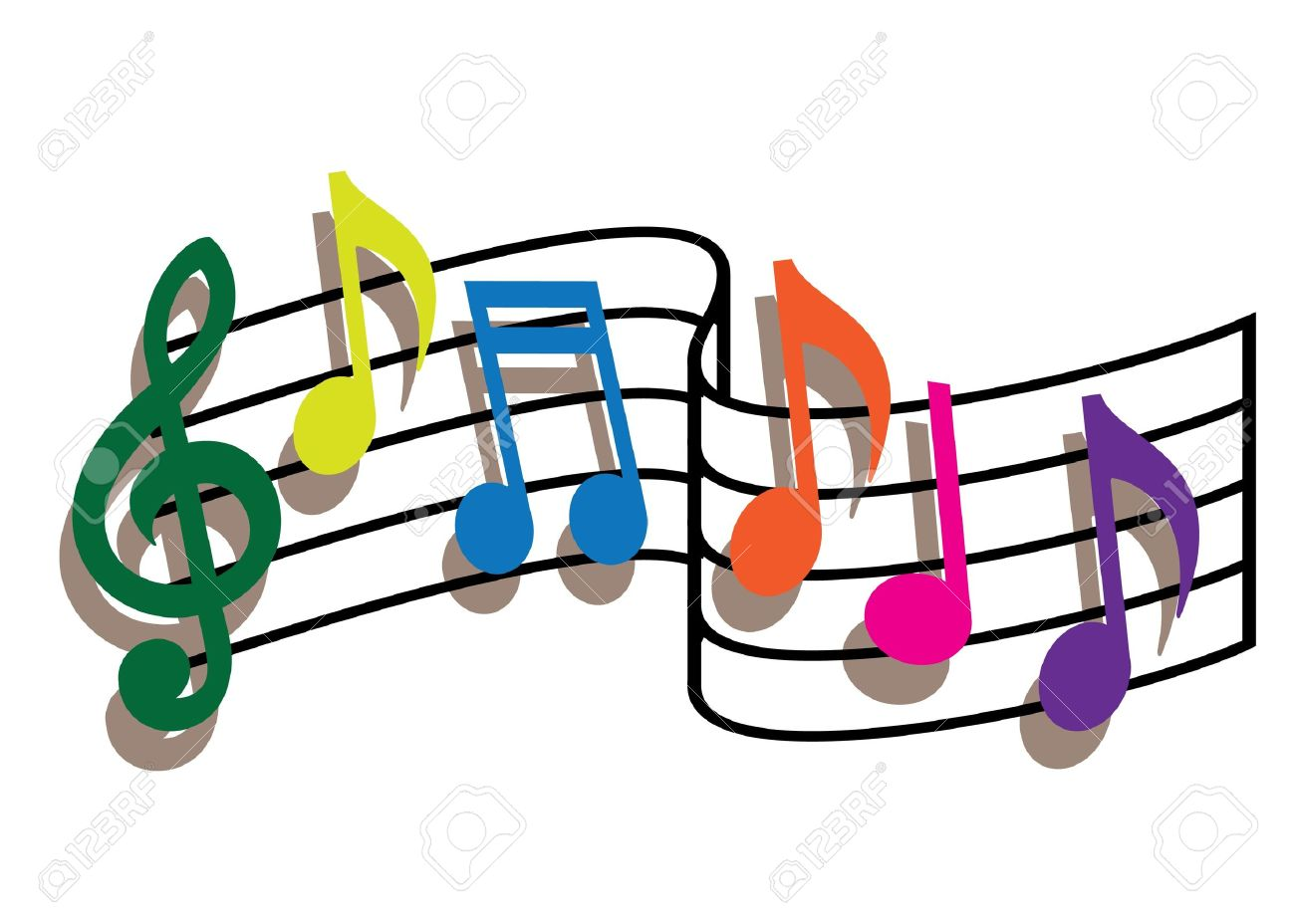 Coloured music notes on the white background Stock Vector - 9933613