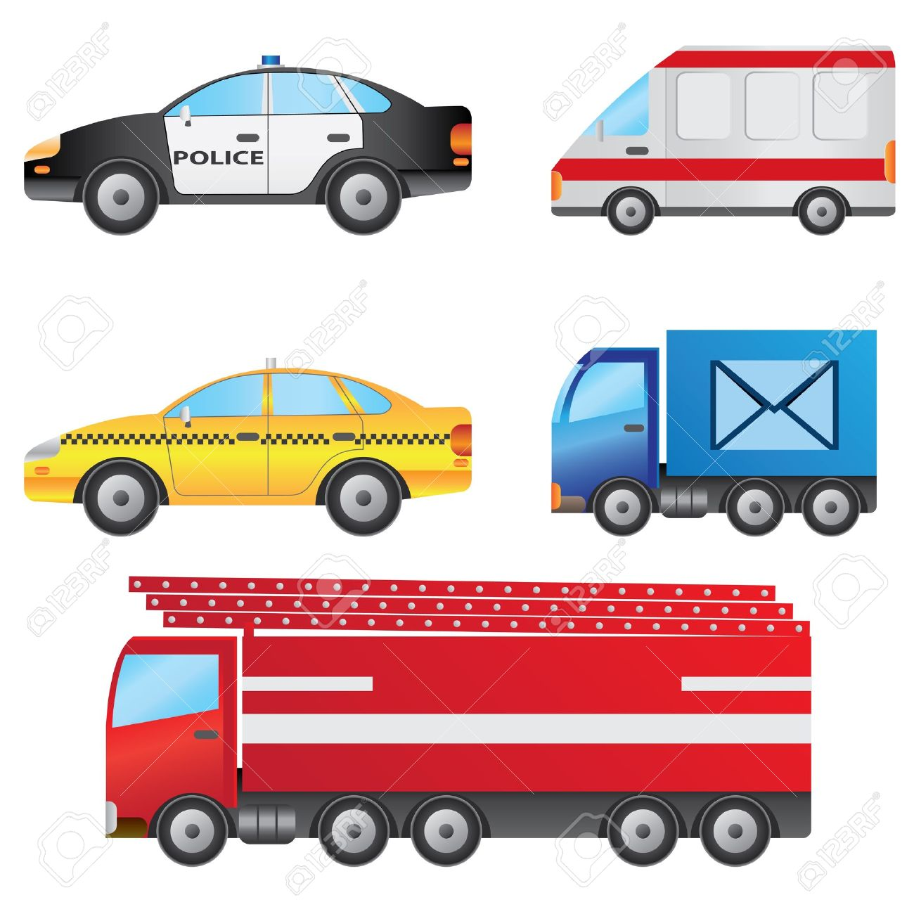 set of different types of cars including police car ambulance taxi post van