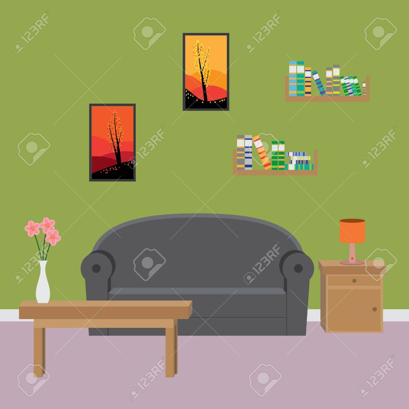 Comfortable Interior Of Modern Living Room Illustration