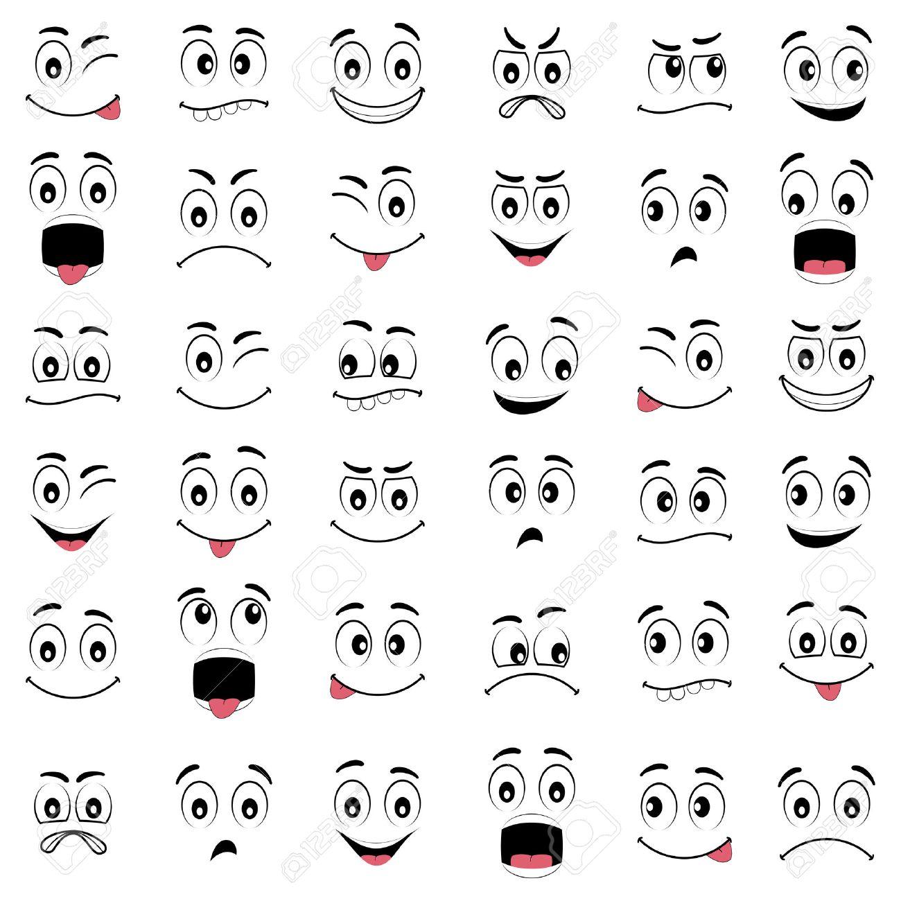 漫画の表情、目と口と顔、白い背...