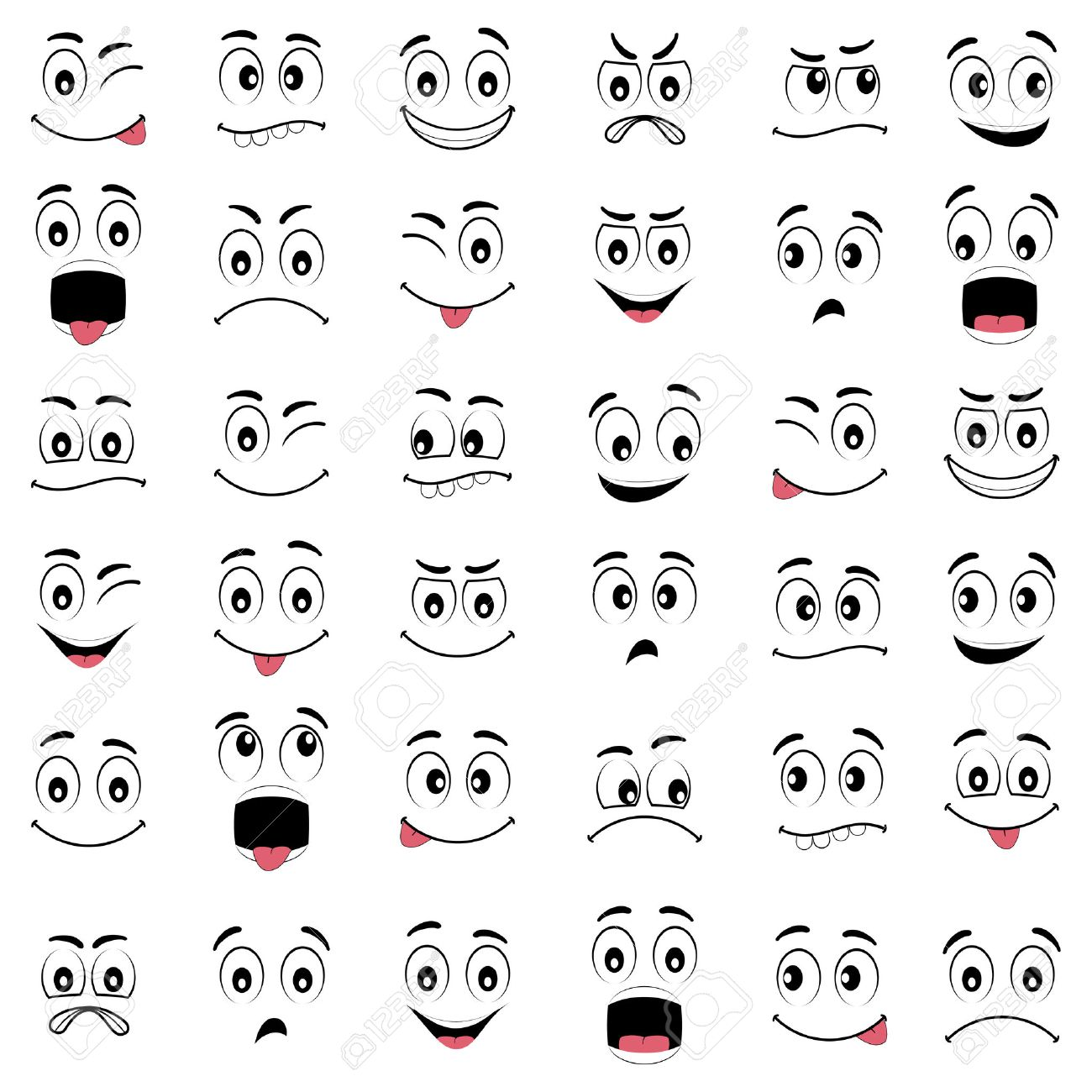 Cartoon faces with different expressions, featuring the eyes and mouth, design elements on white background - 52369873