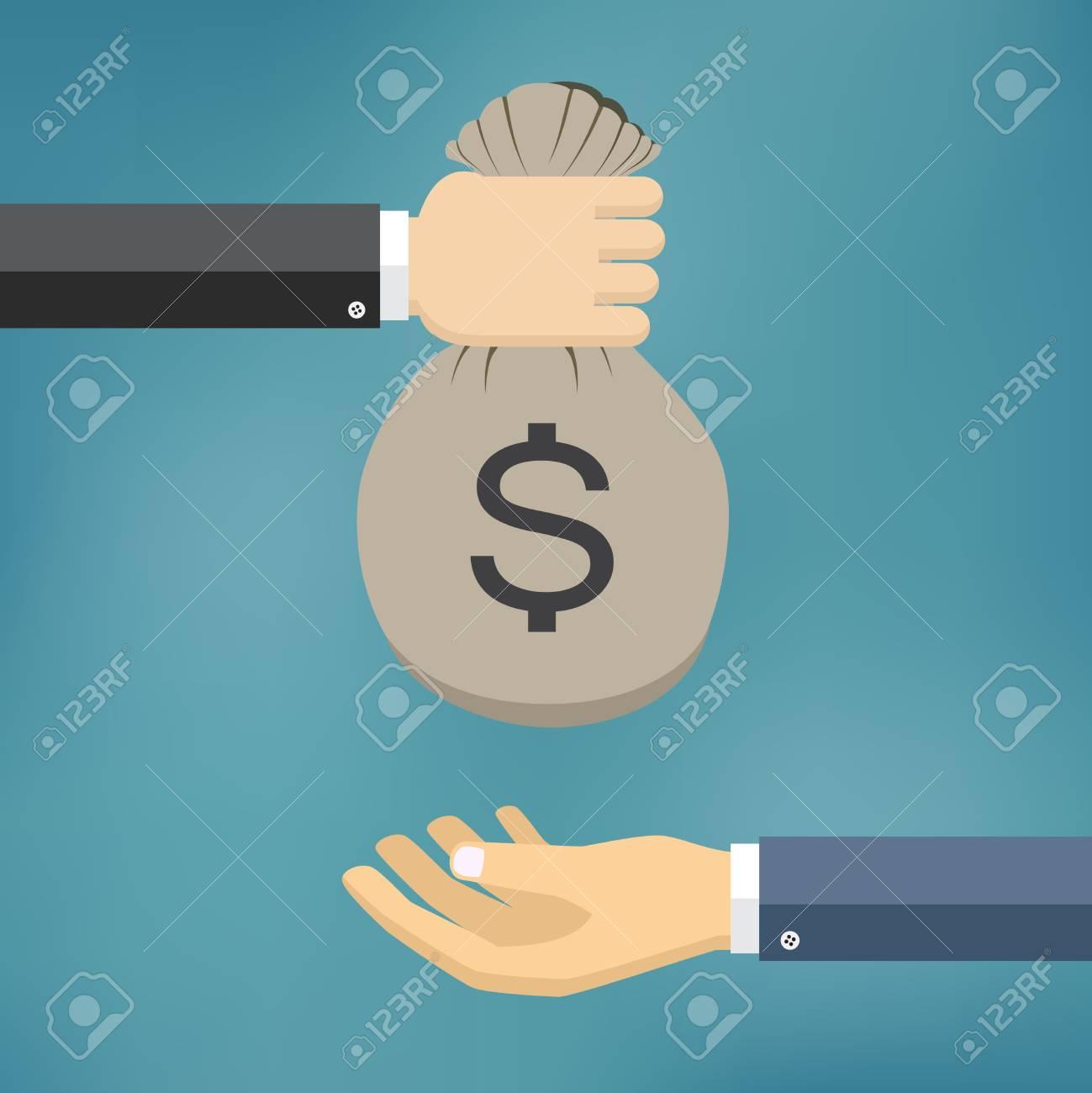 La mano del hombre da bolsa de dinero a otra persona. ilustración vectorial pago.